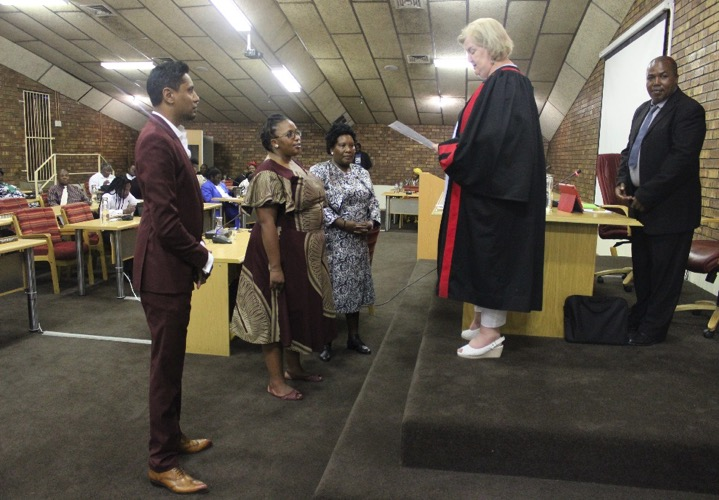 Seen on the photo is Newcastle Mayor Cllr Afzul Rehman, newly appointed traditional leader Balungile Radebe, Deputy Mayor Rachel Mdluli, Magistrate Alexandra Hills and Speaker Cllr Mandla Zikhali.