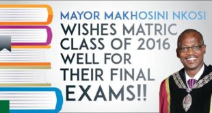 Newcastle Mayor wishes 2016 matriculants all the best for the exams.