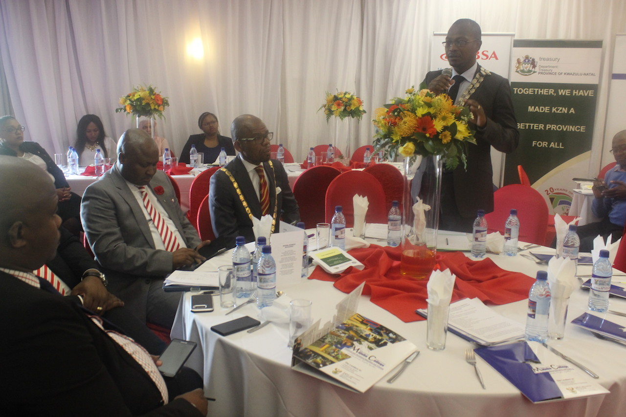 Newcastle Mayor; Cllr Makhosini Nkosi during the engagement session with the businesses