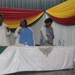 Mayor Cllr EM Nkosi, Deputy Mayor Cllr Dudu Sibiya, Chief Whip Cllr NG Mnguni and SED Ms Nokuthula Thusi during the signing of the oath under the leadership of Speaker Cllr JCN MamMkhwanazi.