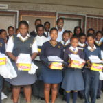 Uniform beneficiaries of Sekusile High school with Mayor Nkosi