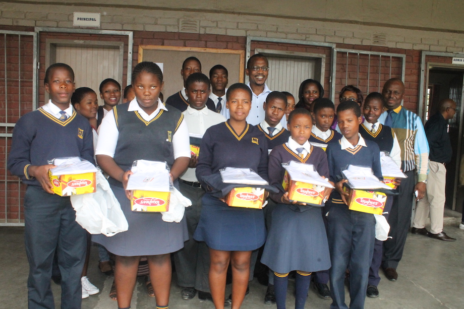 Uniform beneficiaries of Sekusile High school with Mayor Nkosi