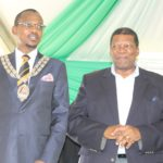 Minister of Rural Development and Land Reform, Mr Gugile Nkwinti with Mayor of the Newcastle Municipality, Cllr Makhosini Nkosi