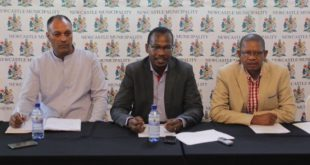 Newcastle Mayor Cllr EM Nkosi with SED for Community Services; Mr Mandla Sithole and Protection Services Chief Traffic Officer; Mr Ashok Anandhaw
